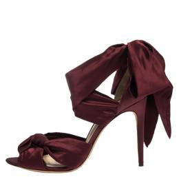 Alexandre Birman Burgundy Satin Katherine Ankle Wrap Sandals Size 41 279432