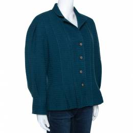Chanel Teal Blue Wool Tweed Paneled Jacket L 279373