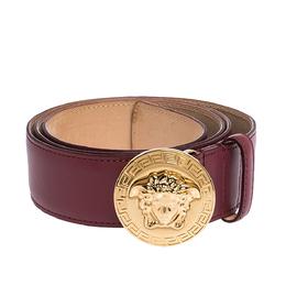 Versace Dark Pink Leather Medusa Belt 105CM 279100