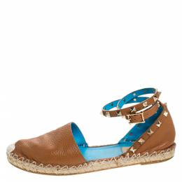 Valentino Tan Leather Rockstud Espadrilles Size 39