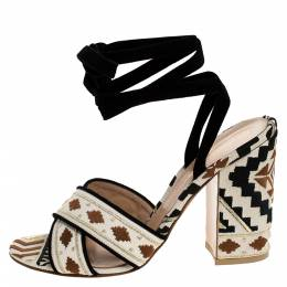 Gianvito Rossi Multicolor Embroidered Canvas And Suede Cheyenne Ankle Wrap Sandals 40 279275