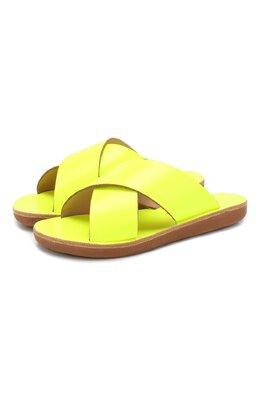 Кожаные шлепанцы Ancient Greek Sandals LITTLE THAIS S0FT/FLU0 YELL0W