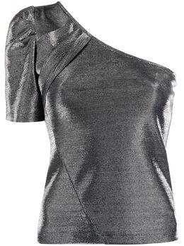 Federica Tosi топ на одно плечо с эффектом металлик FTE20BL1420MA0022