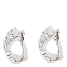 Bvlgari 18K White Gold Parentesi Diamond Earrings 279199