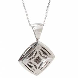 Bvlgari 18K White Gold Diamond Piramide Pendant Necklace 279182