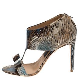 Salvatore Ferragamo Multicolor Python Embossed Studded Pellas T Strap Sandals Size 40.5 278464