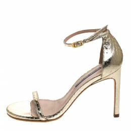 Stuart Weitzman Gold Python Embossed Leather Ankle Strap Open Toe Sandals Size 37 279548