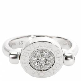 Bvlgari 18K White Gold Diamond Pave Onyx Ring Size 50 279174
