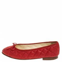 Chanel Red Quilted Leather CC Ballet Flats Size 38.5 279740