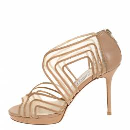 Jimmy Choo Beige Leather and Mesh Caged Open Toe Sandals Size 37.5 279663