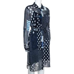 Diane Von Furstenberg Indigo Patchwork Print Silk Prita Long Shirt Dress L 279512