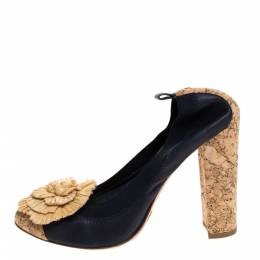 Chanel Dark Blue Leather And Raffia Camellia Scrunch Cork Block Heel Pumps Size 40 279671