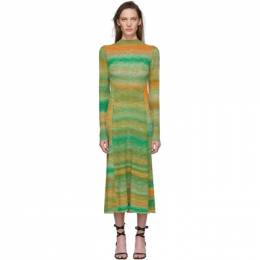 Tibi Green and Orange Space Dyed Sweater Dress S120SE6261