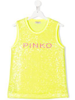 Pinko Kids топ без рукавов с вышивкой пайетками 024584