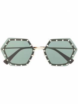Valentino Eyewear солнцезащитные очки в геометричной оправе с кристаллами VA2035300371