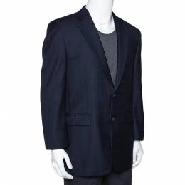 Burberry Navy Blue Checked Wool Two Buttoned Tailored Blazer M 279691