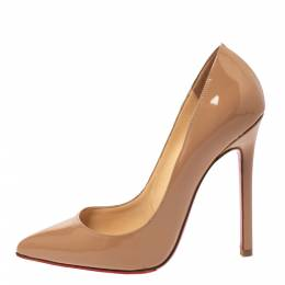 Christian Louboutin Beige Patent Leather So Kate Pointed Toe Pumps Size 35.5 278609