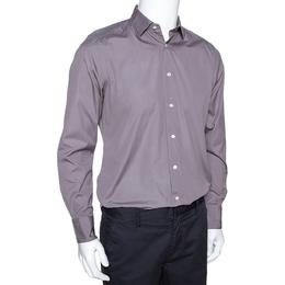 Ermenegildo Zegna Grey Cotton Trofeo Comfort Tailored Fit Shirt M 279712