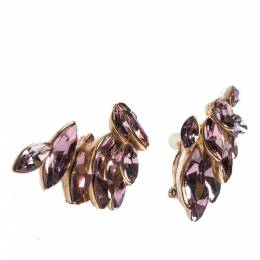 Dior Gold Tone Pink Floral Crystal Clip On Earrings 279714