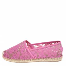 Valentino Pink Lace And Leather Trim Espadrille Flats Size 38