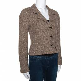 Chanel Brown Wool Tweed Lurex Detail Cropped Jacket M 279779