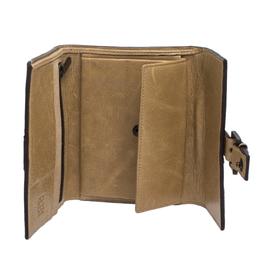 Carolina Herrera Beige Monogram Leather Buckle Flap Compact Wallet 279798