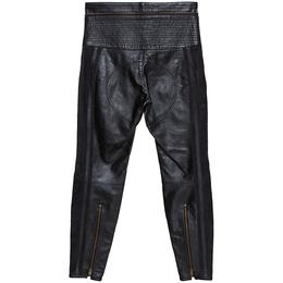 Chloe Black Leather & Nubuck Paneled Cropped Biker Pants S