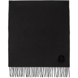 Moncler Black Wool Logo Scarf E209300436000436S