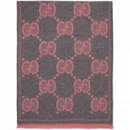 Gucci Grey and Pink Lady Nest Lux Scarf 598993 3GC15
