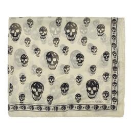 Alexander McQueen Off-White Silk Skull Scarf 5577173052Q