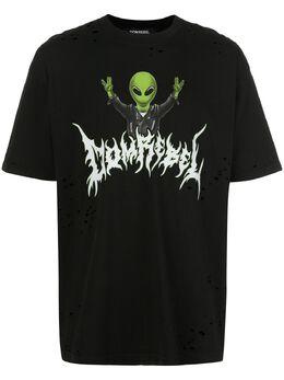 Domrebel футболка с принтом и эффектом потертости ALIENTB
