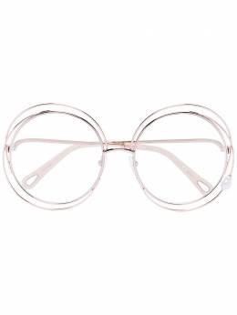 Chloe Eyewear солнцезащитные очки в массивной круглой оправе CE114SPRLPEARL42833