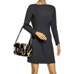 Tod's Multicolor Mink Fur and Leather Double T Flap Shoulder Bag 279762