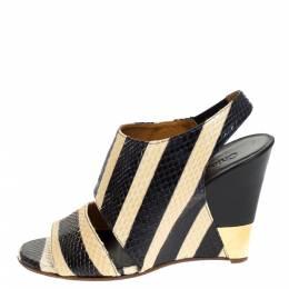 Chloe Cream/Black Striped Python Leather Ayers Wedge Slingback Sandals Size 37.5 279615