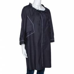 Celine Navy Blue Denim Button Front Tunic Jacket L 278793