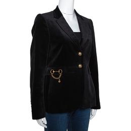 Gucci Black Velvet Horsebit Detail Tailored Blazer M 279931