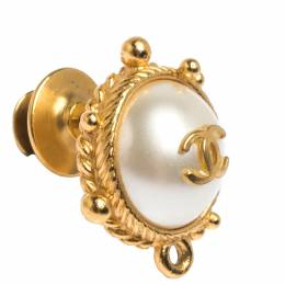 Chanel CC Faux Pearl Gold Tone Round Pin Brooch 279689