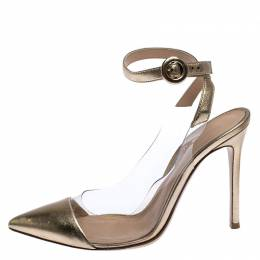Gianvito Rossi Gold Metallic PVC and Leather Anise Pointed Toe Ankle Strap Sandals Size 38 251438