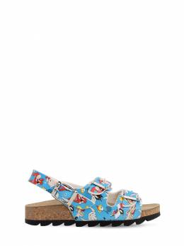 Looney Tunes Print Faux Leather Sandals Moa Master Of Arts 71IXLC016-TElHSFQgQkxVRQ2