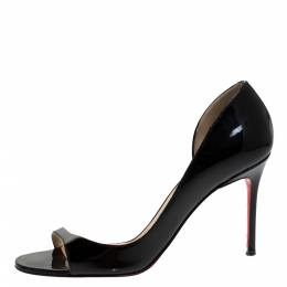 Christian Louboutin Black Patent Leather Toboggan Sandals Size 37.5 280493