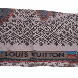 Louis Vuitton Pale Pink Monogram World Map Print Silk Square Scarf 280551