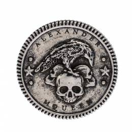 Alexander McQueen Crow and Skull Motif Silver Tone Medallion Ring Size 61 279939
