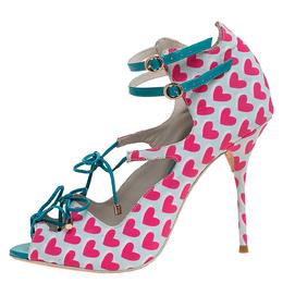 Sophia Webster Pink/Multicolor Heart Print Nylon Sandals Size 39.5 280772