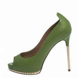 Valentino Green Leather Peep Toe Platform Pumps Size 36 280596