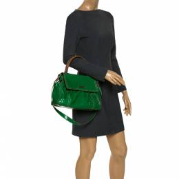 Escada Green Snakeskin Embossed Leather Top Handle Bag 280612