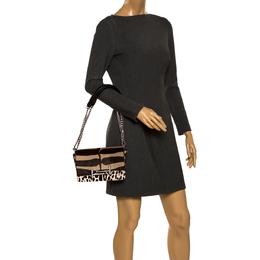 Tod's Brown/Beige Leopard Print Calf Hair Mini Double T Shoulder Bag 280638