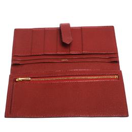 Hermes Rouge H Chevre Leather Bearn Gusset Wallet 280649