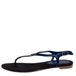 Chanel Black/Metallic Blue Textured Suede CC Crystal Embellished T Strap Flat Thong Sandals Size 38.5 280489
