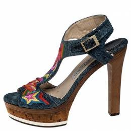 Jimmy Choo Multicolor Denim Ankle Strap Platform Sandals Size 38 251454