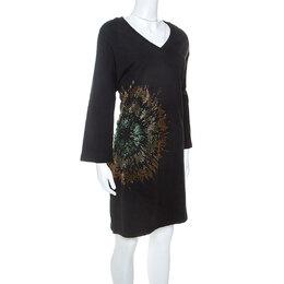 Dries Van Noten Black Jersey Embellished Sweatshirt Dress M Diane Von Furstenberg 251466